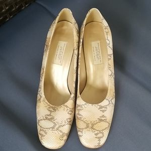 Vintage Lord & Taylor Snakeskin Heels, sz 10